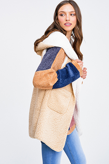 $15.00 - Cute cheap brown plaid print flannel long sleeve frayed hem button up blouse tunic top - Khaki beige sherpa fleece hooded pocketed long cardigan vest top