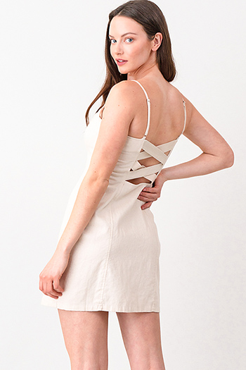 $13 - Cute cheap light pink satin floral off shoulder ruffle tiered boho mini sun dress - Khaki beige linen sleeveless button up cut out caged back boho apron mini sun dress
