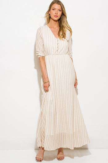 $20 - Cute cheap black ruffle boho dress - khaki beige striped cotton gauze quarter sleeve button up boho maxi dress