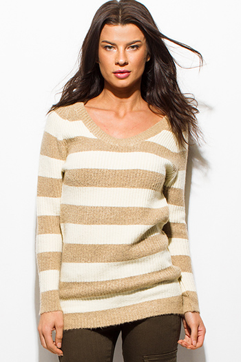 $15 - Cute cheap white v neck crop top - khaki beige striped sweater knit long sleeve scoop neck knit top