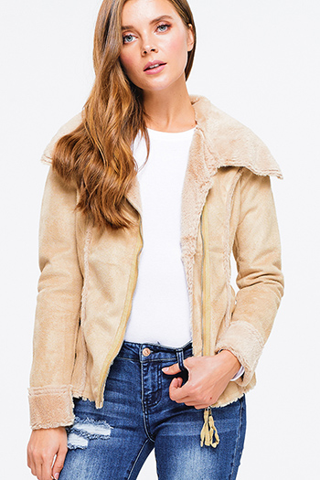 $13 - Cute cheap stone gray long sleeve exposed stitch zip up hooded pocketed boho jacket top - Khaki beige suede faux fur lined long sleeve zip up fitted jacket