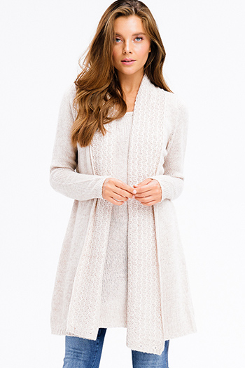 $20 - Cute cheap print boho crochet dress - khaki beige textured knit long sleeve draped collar layered boho sweater tunic mini dress