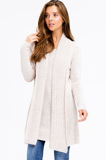 $25 - Cute cheap ribbed boho dress - khaki beige textured knit long sleeve draped collar layered boho sweater tunic mini dress