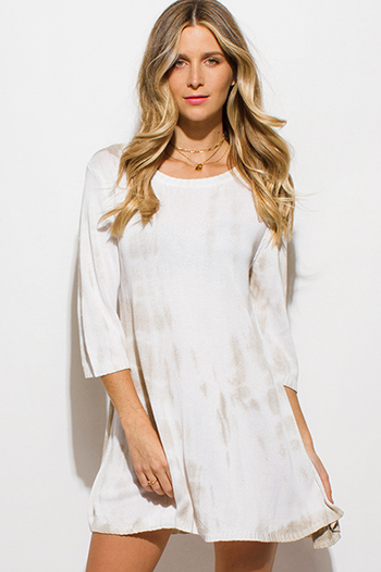 $15 - Cute cheap babydoll cocktail midi dress - khaki beige tie dye knit quarter sleeve a line shift boho mini dress