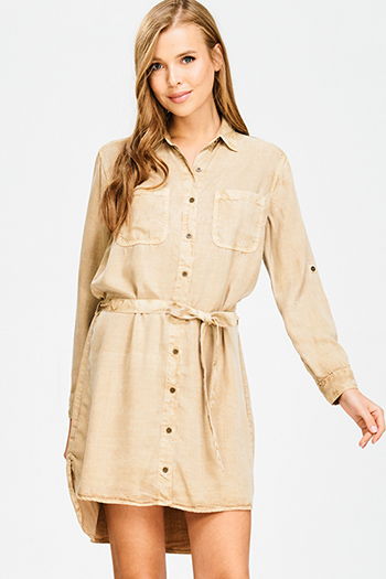 $12 - Cute cheap pleated mini dress - khaki beige washed tencel button up long sleeve tie waist belted boho mini shirt dress