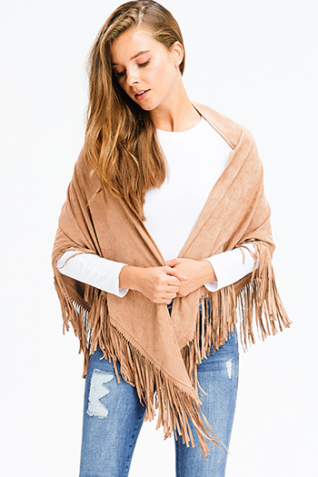 $13 - Cute cheap navy blue sweater knit ethnic print fringe trim boho shawl poncho cardigan jacket - khaki brown faux suede fringe trim asymmetric hem boho cape shawl top