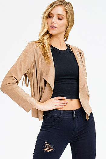 $20 - Cute cheap blouson sleeve top - khaki brown faux suede fringe trim long sleeve draped open front boho jacket top