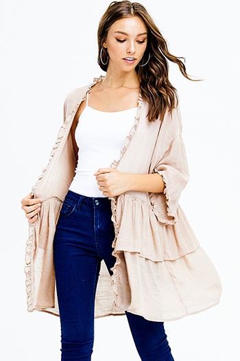 $20 - Cute cheap boho top - khaki brown gauzey ruffle tiered open front boho resort kimono cardigan top
