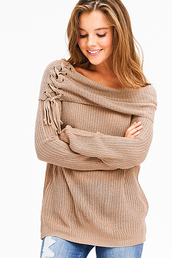 $20 - Cute cheap asymmetrical sweater - khaki brown knit laceup off shoulder long sleeve boho sweater top