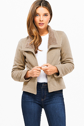 $30 - Cute cheap blush pink button up long sleeve boyfriend duster blazer coat jacket - Khaki brown long sleeve faux fur fleece lined open front cropped hem jacket