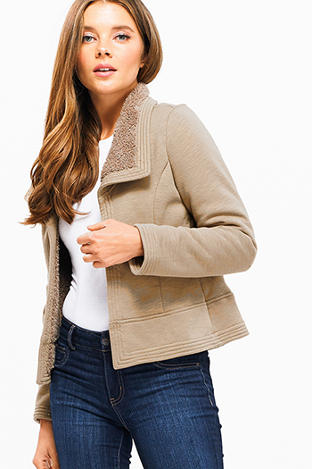$30 - Cute cheap crochet jacket - Khaki brown long sleeve faux fur fleece lined open front cropped hem jacket