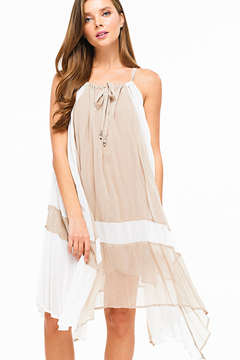 $20 - Cute cheap stripe open back dress - Khaki brown color block pleated chiffon halter waterfall asymmetric hem resort midi dress