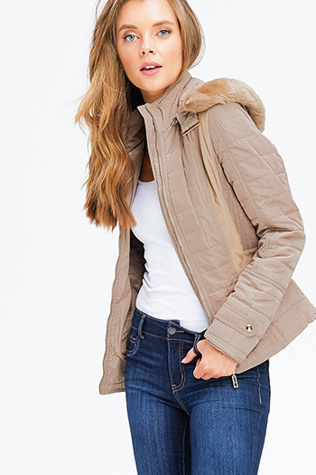 $25 - Cute cheap crochet jacket - khaki brown quilted long sleeve zip up pocketed faux fur trim hooded zip up puffer jacket