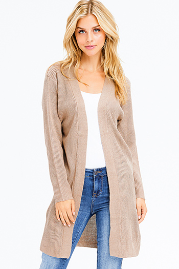 $20 - Cute cheap open back fitted bodycon catsuit - khaki brown ribbed sweater knit long sleeve open front boho duster cardigan
