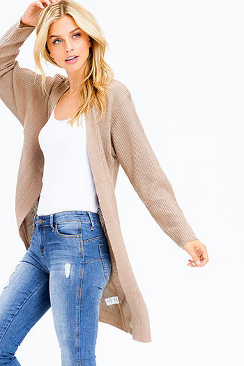 $20 - Cute cheap taupe brown laser cut distressed long sleeve elbow cut out hooded sweatshirt crop top - khaki brown ribbed sweater knit long sleeve open front boho duster cardigan
