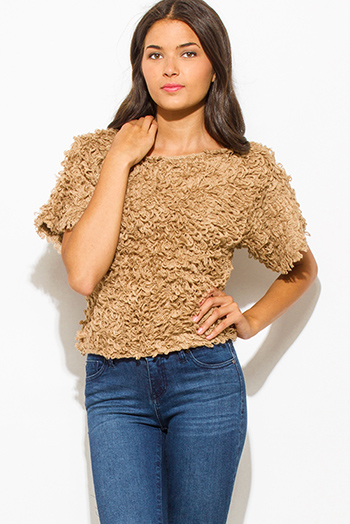 $15 - Cute cheap khaki beige rayon gauze embroidered crochet trim panel quarter sleeve boho peasant blouse top - khaki camel beige textured boat neck wide short sleeve knit sweater top