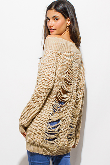 $25 - Cute cheap brown animal zebra print long dolman sleeve boat neck knit top - khaki crochet waffle knit off shoulder long sleeve destroyed shredded boho tunic sweater top