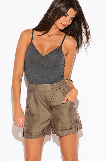 $7 - Cute cheap royal blue high waisted hot pant sexy clubbing shorts - olive khaki high waisted shorts