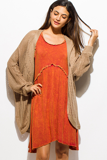 $15 - Cute cheap clothes - khaki light brown long dolman sleeve open front cocoon boho sweater knit cardigan jacket