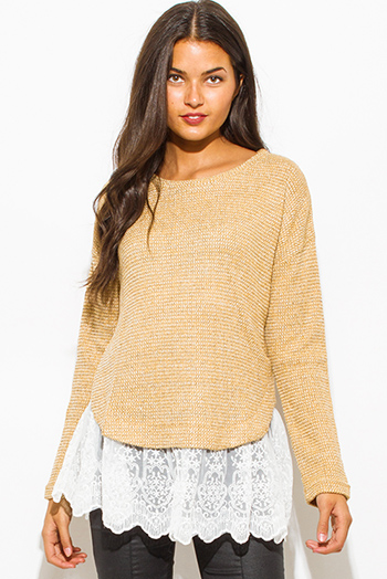 $18 - Cute cheap multi color knit off shoulder fringe trim boho sweater tunic top - khaki mustard beige long sleeve lace hem boho sweater knit top