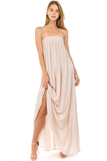 $35 - Cute cheap ribbed slit dress - khaki tan chiffon strapless boho resort sheath column evening maxi sun dress
