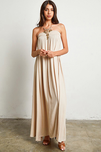 $30 - Cute cheap floral ruffle maxi dress - khaki tan strapless boho resort sheath column evening maxi sun dress