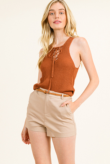 $10 - Cute cheap wide leg pocketed jumpsuit - Khaki tan high waisted pocketed belted tailored chino shorts