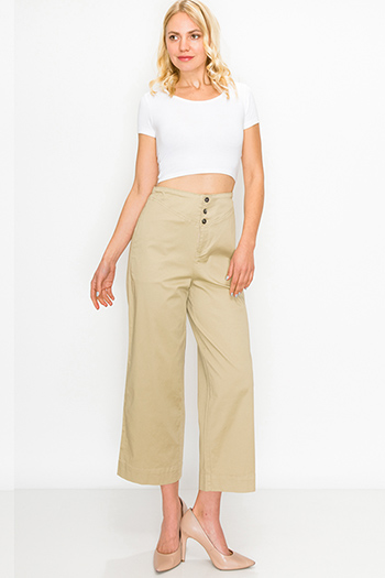 $20 - Cute cheap khaki boho sweater - Khaki tan high waisted pocketed boho wide leg culotte pants