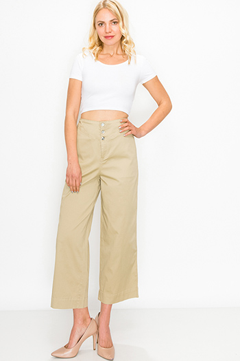 $20 - Cute cheap white denim a line high waisted fitted pocketed boho flare overalls jumpsuit - Khaki tan high waisted pocketed boho wide leg culotte pants