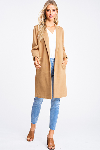 $30 - Cute cheap tan beige stripe sleeveless sailor tie front pocketed wide leg boho jumpsuit - Khaki tan knit long sleeve pocketed open front duster coat jacket