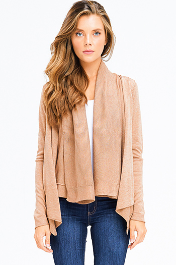$20 - Cute cheap open back evening jumpsuit - khaki tan knit long sleeve draped collar open front boho cardigan top