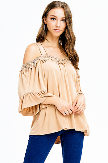 $15 - Cute cheap blouson sleeve top - khaki tan off shoulder wide short sleeve crochet applique criss cross boho blouse top