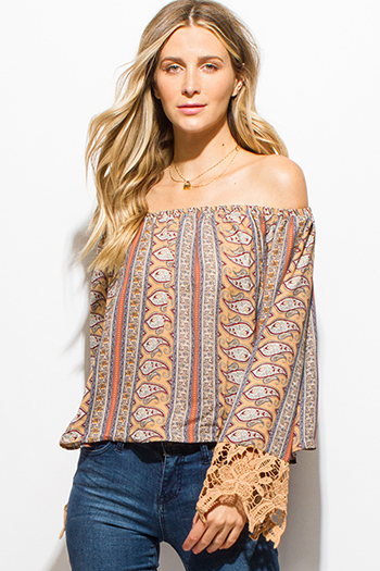 $15 - Cute cheap backless boho crop top - khaki tan paisley print long sleeve crochet lace trim off shoulder boho top