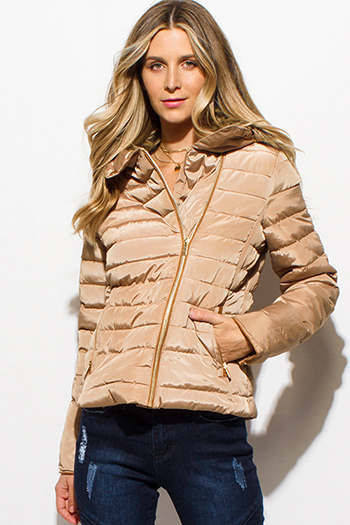 $35 - Cute cheap ribbed jacket - khaki tan quilted faux fur lined asymmetrical zip up puffer bomber jacket