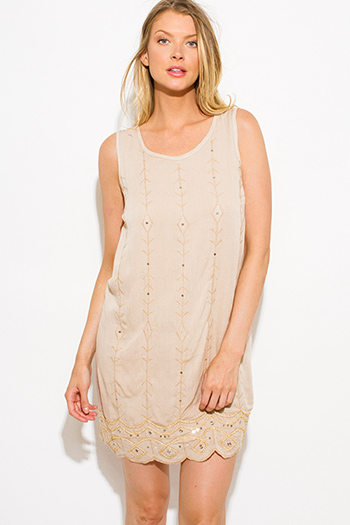 $15 - Cute cheap ruched bodycon sexy party dress - khaki tan sequin embellished sleeveless scallop hem cocktail party shift mini dress