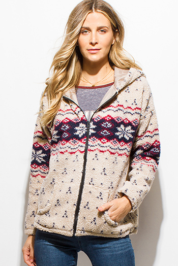 $20 - Cute cheap burgundy red multicolor ethnic print hooded pocketed button up duster cardigan jacket - khaki tan sherpa winter print hooded pocketed boho zip up jacket
