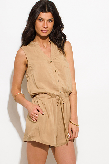 $15 - Cute cheap off shoulder pocketed jumpsuit - khaki tan sleeveless pocketed drawstring waist romper playsuit jumpsuit