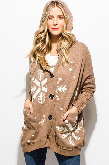 $20 - Cute cheap brown animal zebra print long dolman sleeve boat neck knit top - khaki tan snowflake print dolman sleeve button up hooded sweater knit boho cardigan jacket