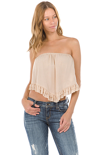 $15 - Cute cheap blue lace sexy party top - khaki tan strapless ruffle tiered hem boho party crop top