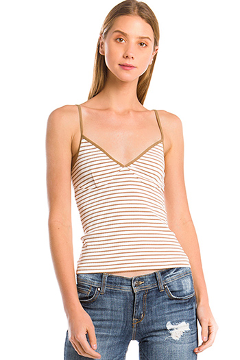 $15 - Cute cheap v neck catsuit - khaki tan striped cotton ribbed knit sweetheart neck bustier fitted tank top