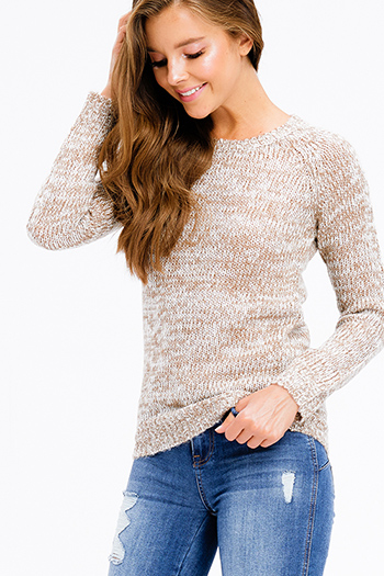 $15 - Cute cheap cream beige floral print long sleeve sheer lace panel thermal knit boho tunic top - khaki two tone knit round neck long sleeve sweater top