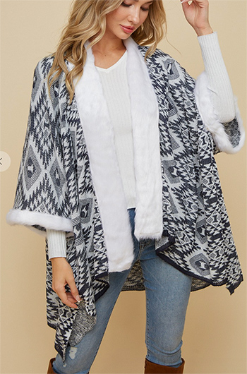 $29.50 - Cute cheap kimono open cardigan with aztec pattern .faux fur trim around the neck and bottom of sleeve.