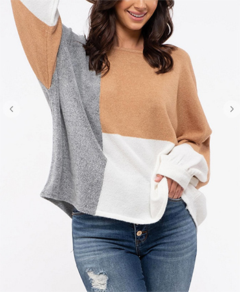 $27.50 - Cute cheap Knit Color-Block Sweater