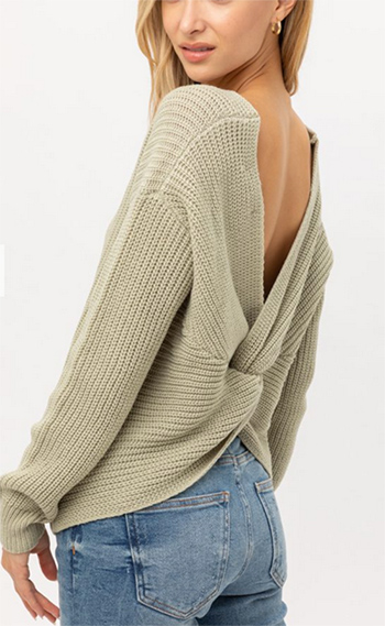 $25.00 - Cute cheap knit long sleeve v neck twist knotted back boho sweater top