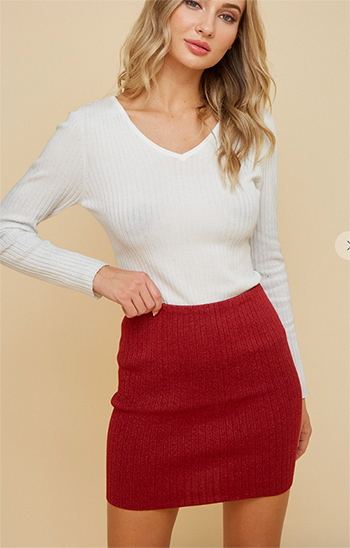 $19.50 - Cute cheap knit bodysuit featuring an allover vertical line pattern - knit skirt with lurex yarn
