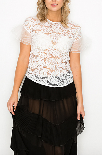 $16.25 - Cute cheap lace boho top - lace chiffon pleats sleeves top