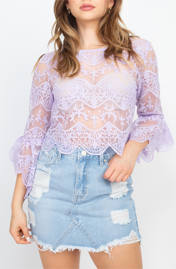 $20.50 - Cute cheap lace scallop hem cropped top