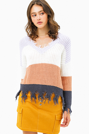 $25 - Cute cheap rust tan cut out ruffle sleeve round neck boho top - Lavender grey color block knit v neck long sleeve fringed chewed hem boho sweater top