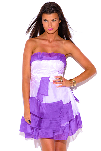 $5 - Cute cheap light blue pleated sleeveless halter racer back crochet lace contrast boho mini sun dress - lavender purple organza ruffle strapless tafetta formal cocktail sexy party mini dress