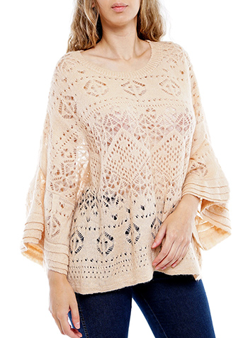 $19.00 - Cute cheap ivory white sheer crochet knit long sleeve scallop hem hooded boho top - layered bell-sleeve crochet top